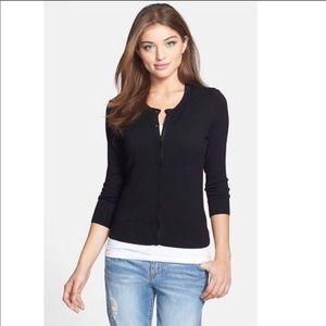 halogen 3/4 sleeve black cardigan